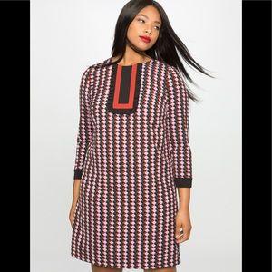 NWT Eloquii Printed Bib Long Sleeve Dress Size 16